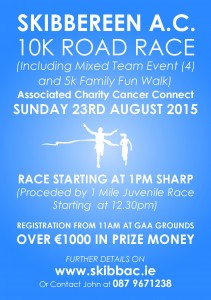 SKIBBEREEN AC 10K ROAD RACE SUNDAY 23RD AUGUST 2015